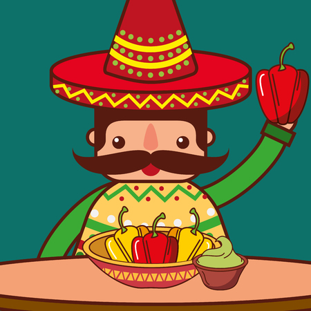character eating at table bell pepper guacamole mexican food vector illustration Illustration
