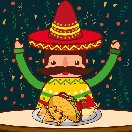 character restaurant menu nachos taco sauce mexican food vector illustration Illustration