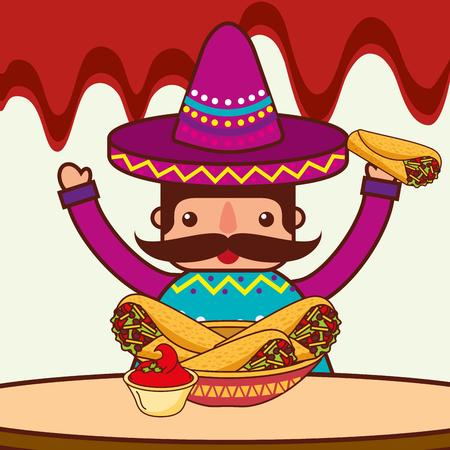 character restaurant menu burritos sauce mexican food vector illustration