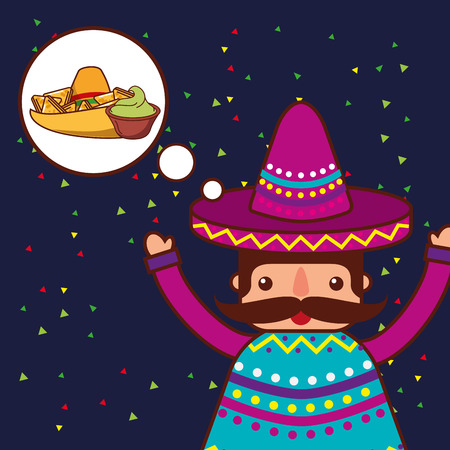 character thinking guacamole and nachos mexican food vector illustration