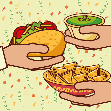 hands with taco nachos and guacamole mexican food vector illustration