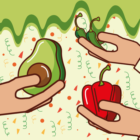 hands with avocado bell pepper chili mexican food vector illustration Illustration