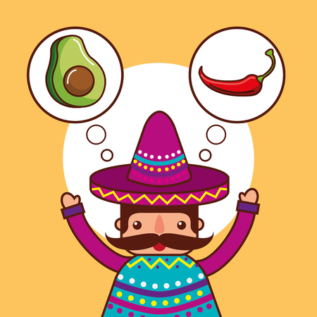 character thinking avocado and chili pepper mexican food vector illustration Illustration