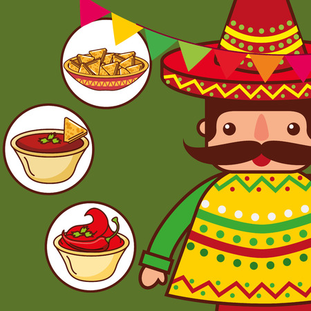 character traditional clothes with nachos sauce mexican food vector illustration