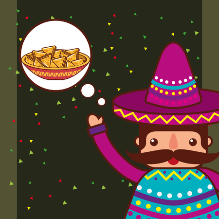character with mustache think nachos mexican food vector illustration