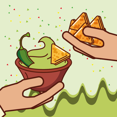 hands with nachos guacamole and chili pepper mexican food vector illustration