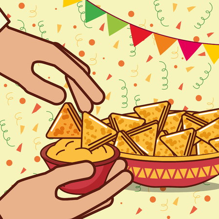hands with nachos in bowl cheese mexican food vector illustration