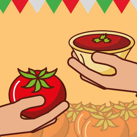 hands with tomato and sauce mexican food vector illustration Stock Photo