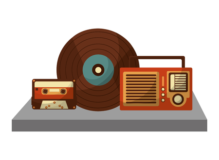 shelf with retro music icons vector illustration design