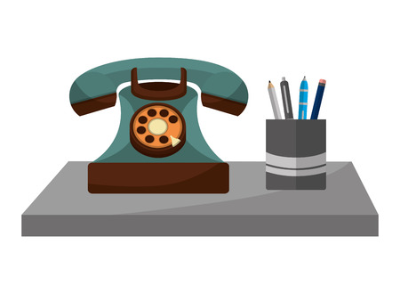 retro telephone with pencil case vintage style vector illustration design