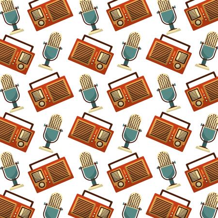 radio and microphone music retro style pattern background vector illustration design Фото со стока - 102475213