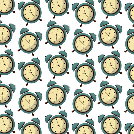alarm clock retro style pattern background vector illustration design