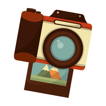 retro camera with picture photographic icon vector illustration design