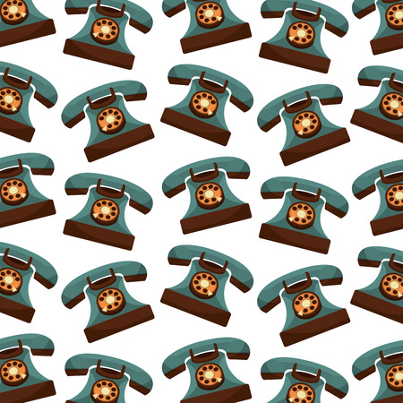 retro telephones pattern background vintage style vector illustration design
