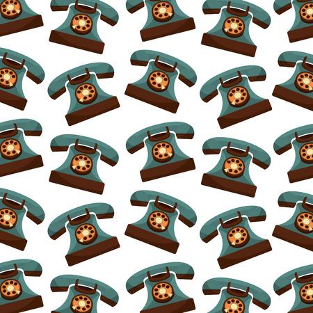 retro telephones pattern background vintage style vector illustration design