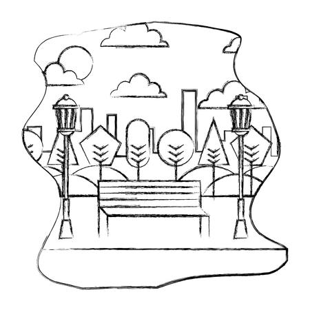 park landscape scene icon vector illustration design Banque d'images - 102475366