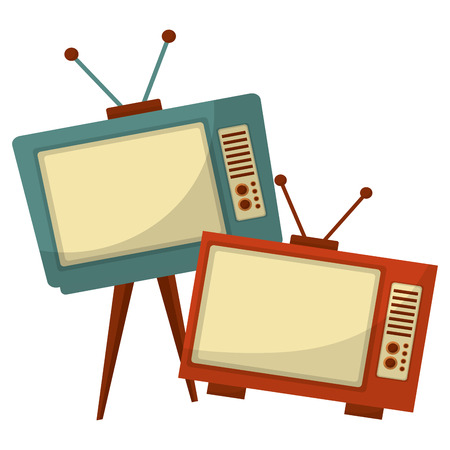 Televisores antiguo estilo retro, diseño de ilustraciones vectoriales Ilustración de vector