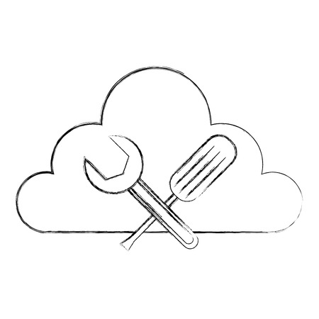 cloud computing with tools data center vector illustration design