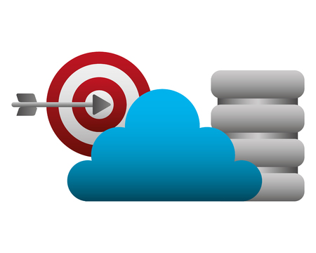 cloud computing with target and disk data center vector illustration design
