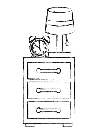 drawer with alarm clock and lamp vector illustration design