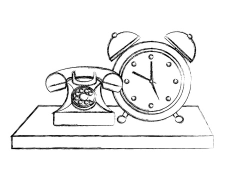 retro telephone with alarm clock vintage style vector illustration design