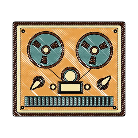 reel to reel tape recorder retro vintage vector illustration