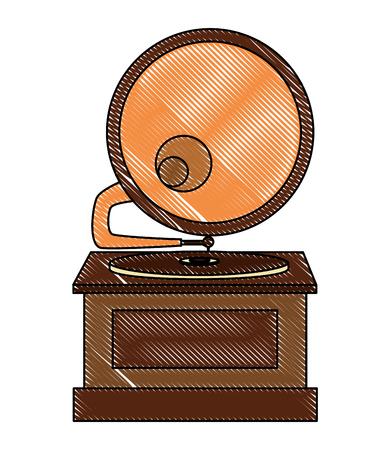 gramophone vinyl disc music retro vintage vector illustration
