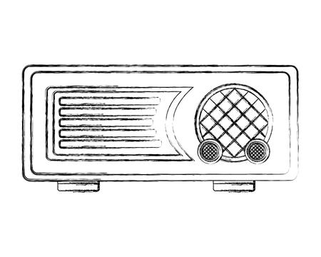 retro vintage radio music sound vector illustration