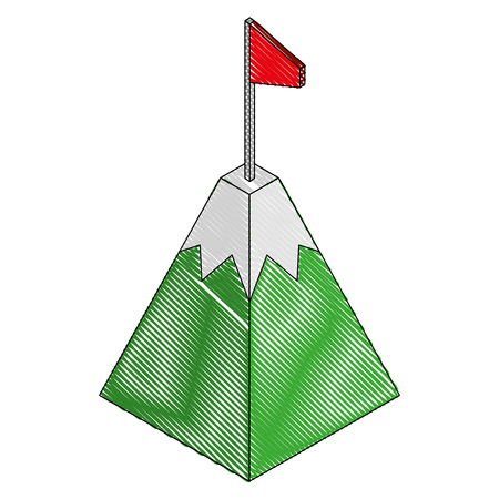 gps navigation mountain pointer flag location isometric vector illustration