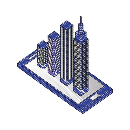 smartphone city building location isometric vector illustration