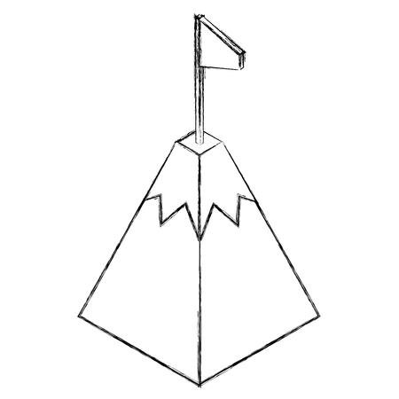 gps navigation mountain pointer flag location isometric vector illustration
