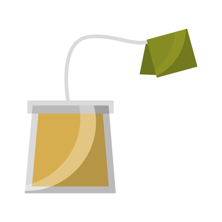 tea bag disposable with label vector illustration