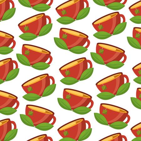 teacup mint leaves beverage background vector illustration