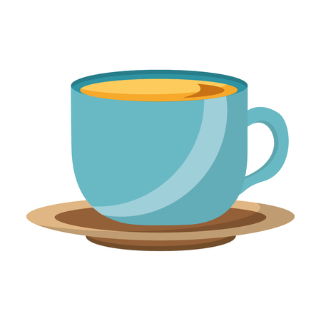 coffee cup fresh beverage on dish vector illustration