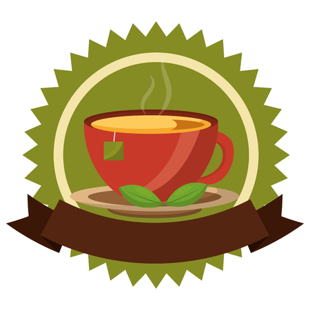 tea cup hot with leaves bag on dish emblem vector illustration