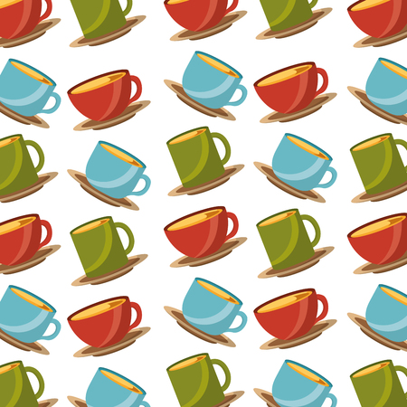 colored many coffee cups beverage pattern vector illustration