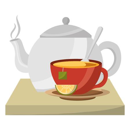 teapot porcelain and cup spoon lemon utensil vector illustration Stock Vector - 102503476