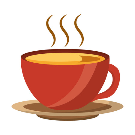 coffee cup hot fresh aroma on saucer vector illustration