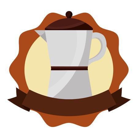 italian traditional coffee maker ribbon label vector illustration 일러스트