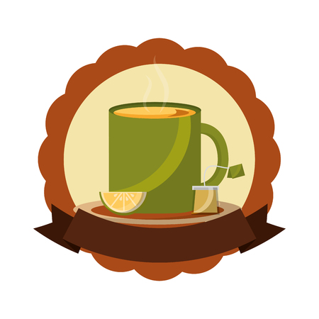 tea cup hot with leaves bag on dish label vector illustration