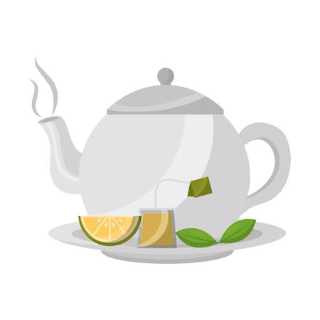 teapot porcelain lemon mint leaf teabag traditional vector illustration Ilustrace