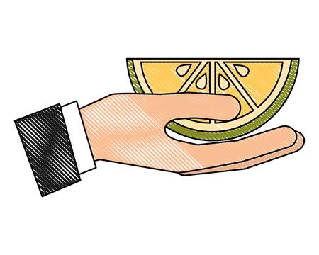 hand holding slice citrus lemon vector illustration drawing Stok Fotoğraf - 102503807