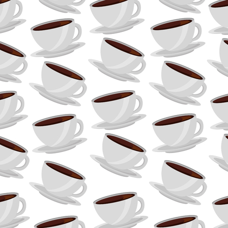 white coffee cups on dish background vector illustration