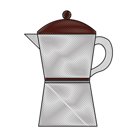 italian traditional coffee maker object vector illustration drawing Illustration