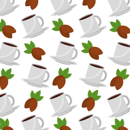 coffee cup and nuts cocoa pattern design vector illustration Çizim