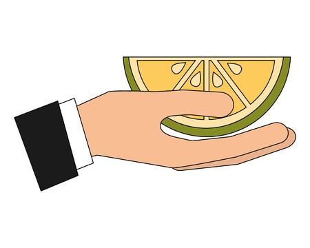 hand holding slice citrus lemon vector illustration