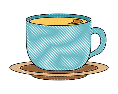 coffee cup fresh beverage on dish vector illustration drawing