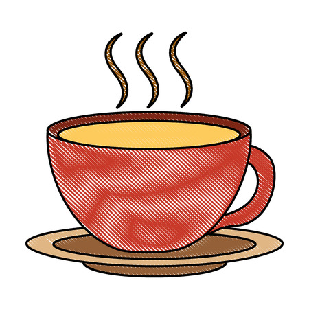 coffee cup hot fresh aroma on saucer vector illustration drawing