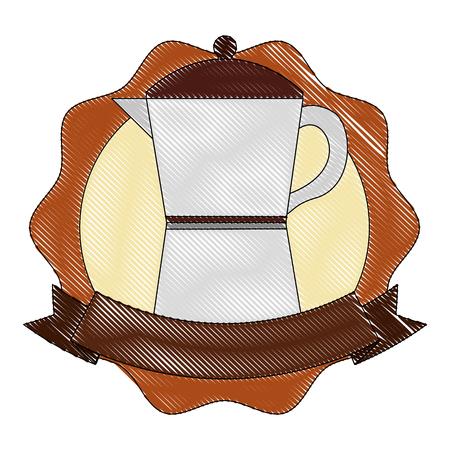 italian traditional coffee maker ribbon label vector illustration drawing 일러스트