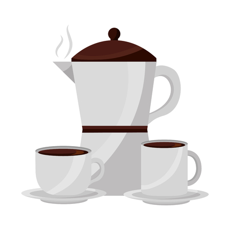 coffee maker cup and mug ceramic dishes vector illustration Banque d'images - 102504328